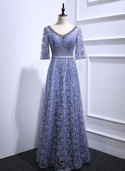 Blue Lace Floor Length Long Party Dress, Charming Wedding Party Dress 2019