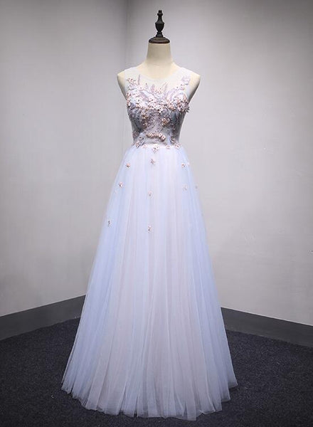 Light Blue-Pink Charming Prom Dress, Lovely Tulle Party Dresses 2019