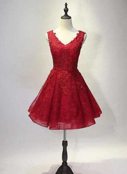 Red V-neckline Lace and Applique Party Dress, Short Red Homecoming Dresses 2019