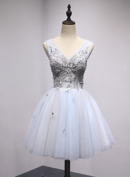 Light Blue and Grey V-neckline Short Cute Homecoming Dress, Lovely Prom Dresses 2019