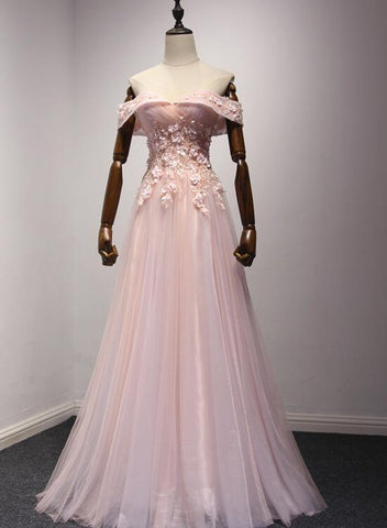Pink Off Shoulder Handmade Formal Dresses 2019, Long Prom Dresses 2019