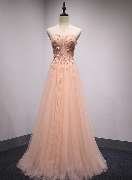 Light Coral Tulle Sweetheart Strapless Formal Gown, Long A-Line Junior Prom Dress 2019