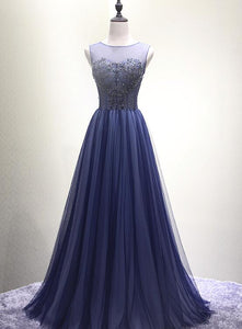 Beautiful Navy Blue Floor Length Party Dresses 2019, Charming Long Handmade Party Dresses