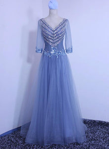Beautiful Blue 1//2 Sleeves Beaded Tulle Evening Dress, Handmade Formal Dresses 2019