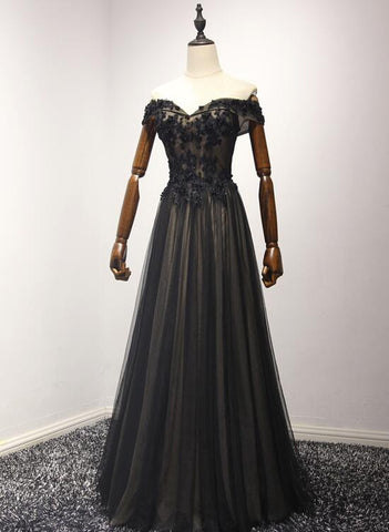 Beautiful Black Off Shoulder Long Prom Dresses, Black Evening Gowns