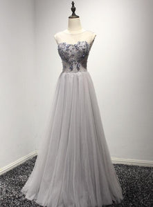 Grey Tulle Beaded Long Party Dresses 2019, Beautiful Prom Gown, Formal Dresses 2019