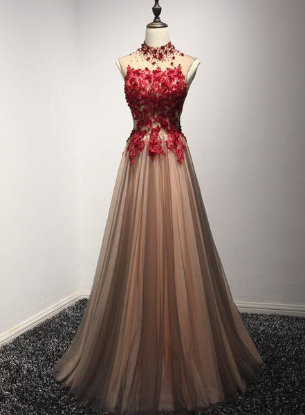 Beautiful Red and Champagne Halter Tulle Long Formal Gown, Prom Dresses 2019