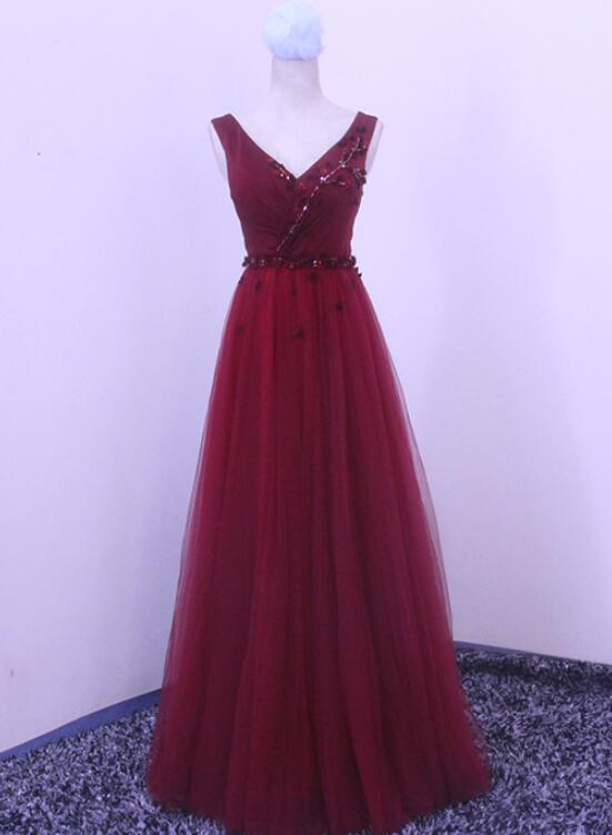 Wine Red V-neckline Long Prom Dresses 2019, Tulle Formal Gowns 2019