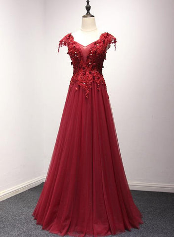 Beautiful Wine Red Cap Sleeves Tulle with Applique Long Evening Party Dresses, Prom Dresses 2019