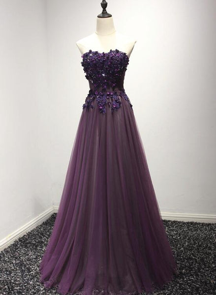 Dark Purple Tulle Sweetheart Floor Length Formal Gown, Charming Prom Dress 2019