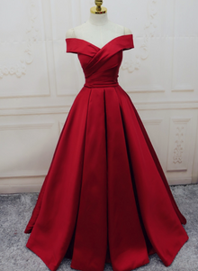 Red Satin Off Shoulder Handmade Long Formal Dress, Beautiful Handmade Red Formal Gown 2019