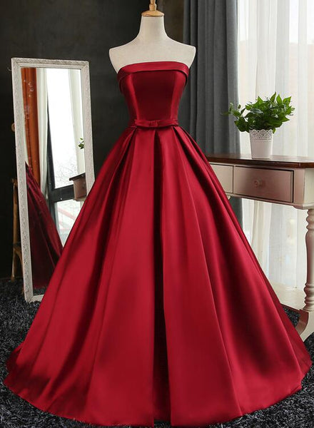Beautiful Satin Scoop Floor Length Ball Prom Dress 2019, Dark Red Sweet 16 Gown