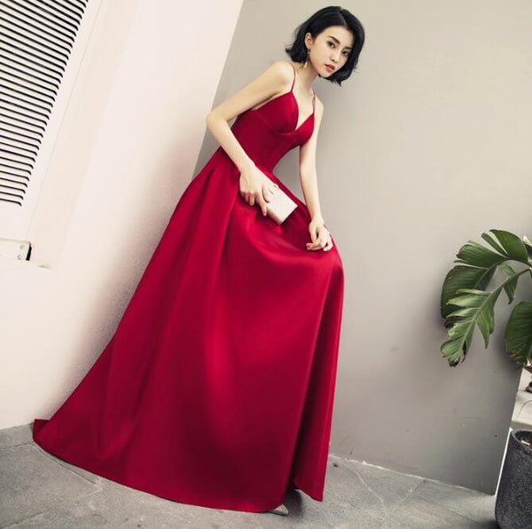 Beautiful Satin Dark Red Straps Long Party Gowns, Handmade Formal Gown 2019