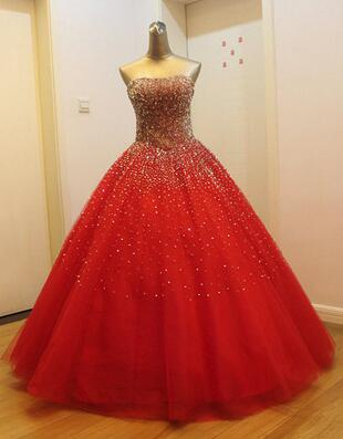 Gorgeous Red Long Tulle Gown, Sparkle Handmade Formal Dresses