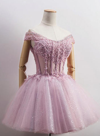 Lovely Tulle Light Pink-Purple Mini Party Dress, Lovely Off Shoulder Lace-up Homecoming Dress 2019