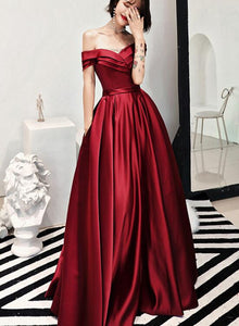 Stylish Red Satin Long Party Gowns, Off Shoulder Prom Dresses 2019