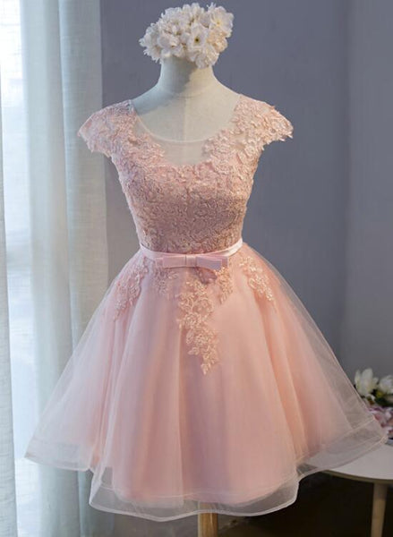Pink Lovely Cap Sleeves Knee Length Formal Dress, Pink Tulle Prom Dress 2019