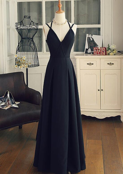 Beautiful Black Chiffon Straps Long A-line Junior Prom Dress, Black Party Gowns 2019