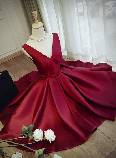 Beautiful Wine Red Lace-up Formal Dress, Satin Lovely Party Dress for Prom