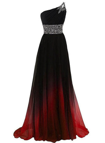 Black and Red Gradient Chiffon One Shoulder Beaded Party Dress, Cute Junior Prom Dress