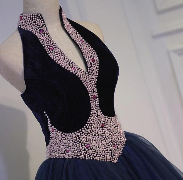 Gorgeous Navy Blue Tulle and Velvet with Light Pink Pearls Prom Gown, Party Dresses 2019