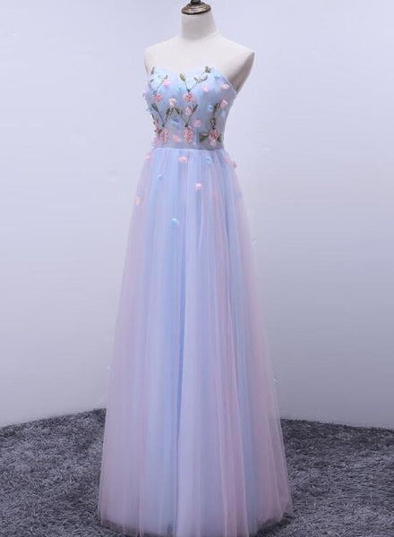 Light Blue Sweetheart Strapless Tulle Long Formal Dress, Gorgeous Party Gowns 2019