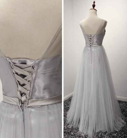 Beautiful Grey Tulle and Beaded Sparkle Prom Dress with Bow, Long Formal Gown