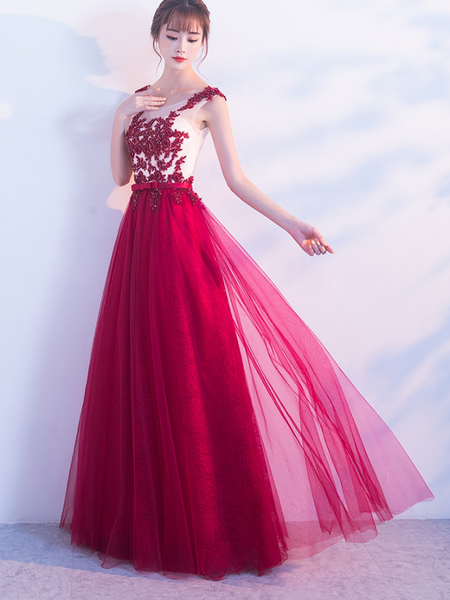 Beautiful Applique Long Wine Red Party Dress 2019, Prom Dresses for Sale