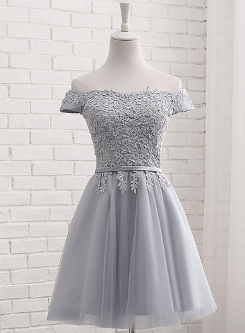 Lovely Grey Short Tulle Party Dress with Lace Applique, Bridesmaid Dresses 2019, Cute Formal Dress