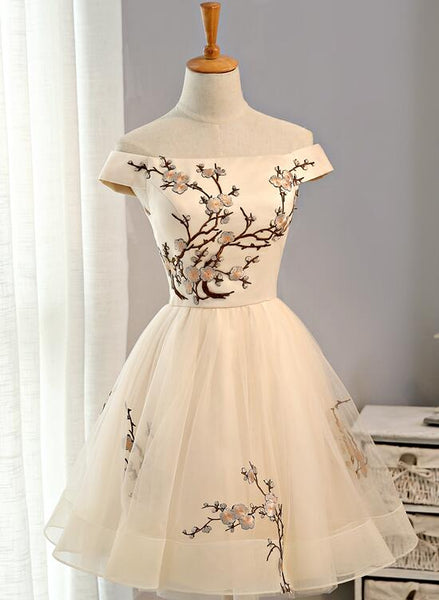 Cute Champagne Off Shoulder Knee Length Prom Dress 2019, Lovely Formal Dress 2019