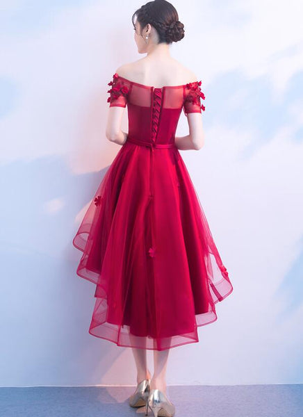 Lovely Red Tulle Homecoming Dress 2019, High Low Prom Dresses 2019