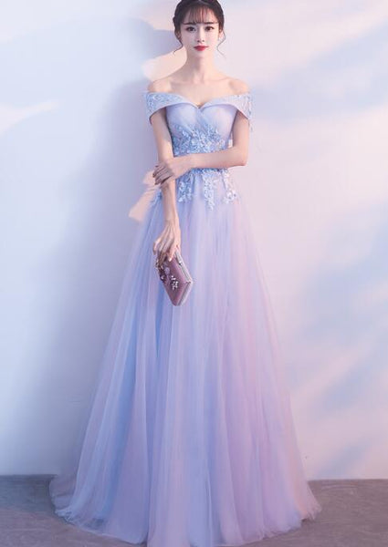 Light Blue Off Shoulder Long Party Dress 2019, Tulle A-line Party Dress