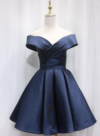 Beautiful Satin Sweetheart New Style Bridesmaid Dress, Off Shoulder Short Formal Dress 2019