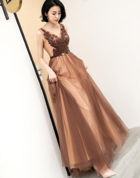 Beautiful V-neckline Tulle Long Party Dress 2019, Elegant Evening Party Dress