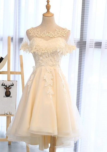 Light Champagne High Low Homecoming Dress 2019, Lovely Formal Dresses