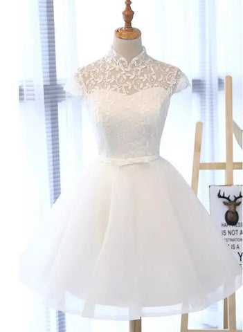 Lovely Lace and Tulle Short Cap Sleeves Formal Dress 2019, Teen Formal Dress