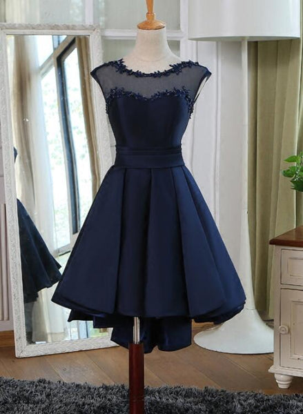 Navy Blue Satin High Low Homecoming Dresses, Prom Dresses 2019, Formal Dresses