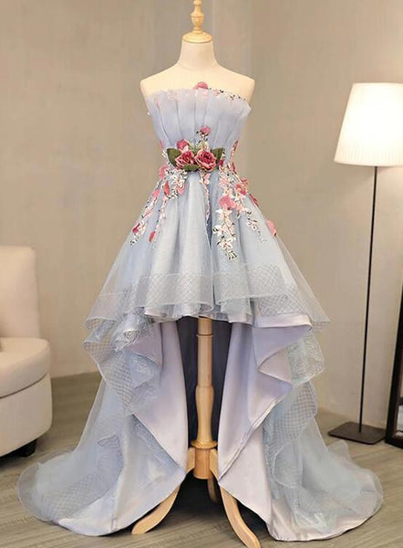 Charming Flowers Grey High Low Formal Dress, Handmade Party Dress 2019