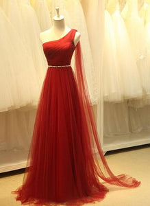 Beautiful One Shoulder Tulle Dark RED Long Bridesmaid Dress 2019, Elegant Formal Gown