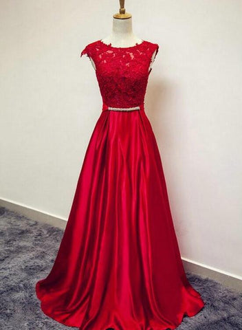 Beautiful Red Satin and Lace Round Neckline Evening Gown, A-line Formal Gown 2019