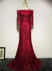 wine red lace party dress