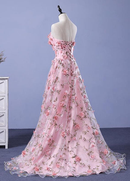 Dark Pink Tulle Flowers Long junior Prom Dress, Pink Party Gown 2019