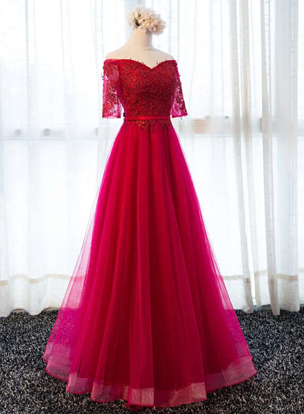 Wine Red Tulle Long Formal Gown, Short Sleeves Junior Prom Dress
