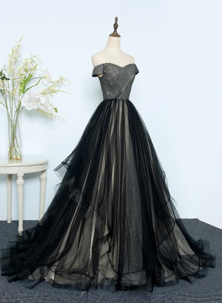 Beautiful Black Tulle Off Shoulder Floor Length Gown, Black Evening Dresses 2019
