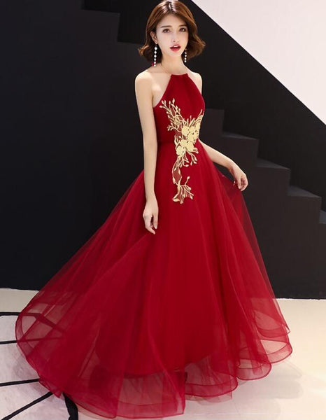 New Style High Neckline Half Back Long Formal Dress, Sexy Party Dress