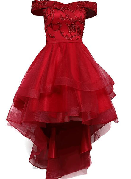 Red off shoulder high low party dress