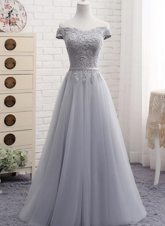 grey tulle long bridesmaid dress 2019