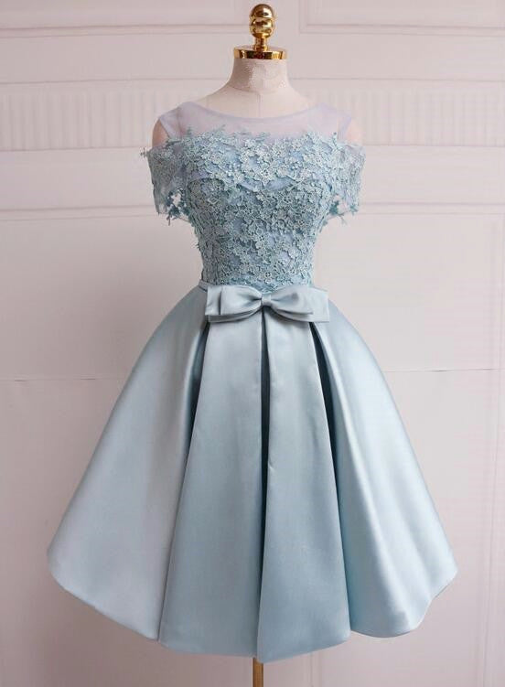 Light Blue Short Satin Party Dress,Cute Formal Dress 2019