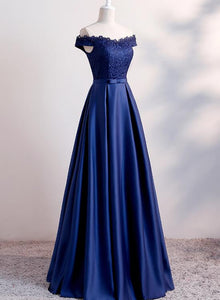 navy blue satin and lace off shoulder dress