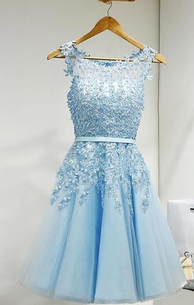 Lovely Round Neckline Tulle Homecoming Dress, Handmade Party Dress 2019